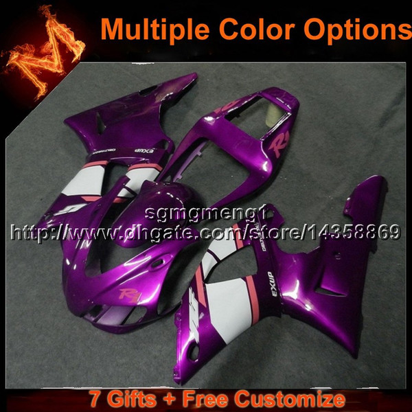 23colors+8Gifts PURPLE motorcycle article for Yamaha YZFR1 2000-2001 YZF R1 00-01 ABS Plastic Fairings