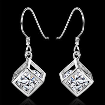 New listing 925 sterling silver plated dangle chandelier earrings simple square elegant hining zircon crystal earrings jewelry e583