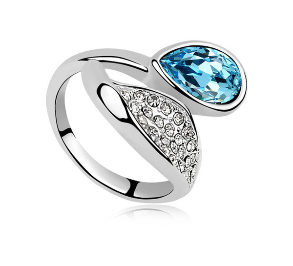 Fashion Diamond 925 sterling silver rings with Austrian crystal High quanlity personality women Solitaire Ring style charm jewelry