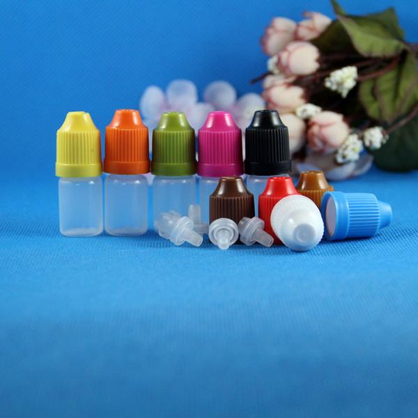 100 sets 3ml (1/10 oz) Flacons compte-gouttes en plastique CHILD Proof Safe Caps Tips Bouts Résistance LDPE E Vapor Cig Liquid 3 ml