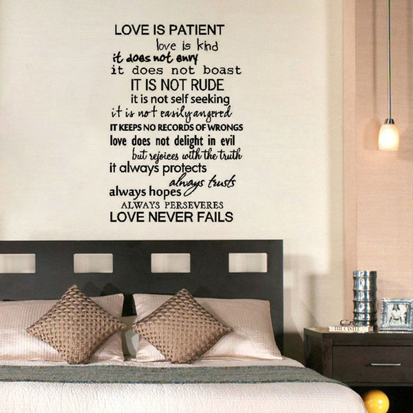 Love Is Patient Love Is Kind Wall Sticker Text Art Vinyl Removable ...