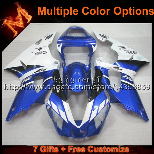 23colors+8Gifts BLUE WHITE motorcycle cowl for Yamaha YZF R1 2000-2001 00 01 YZF-R1 00-01 Bodywork Set ABS Plastic Fairing
