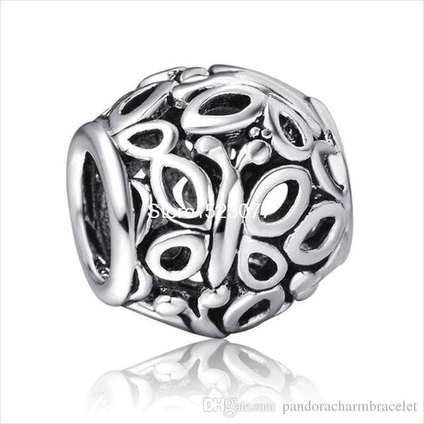 925 Sterling Silver European Bead Charm Diy Pour Serpent Bracelet Bracelet Belle Fille Cadeau Véritable Mode Papillons Art Design Marque