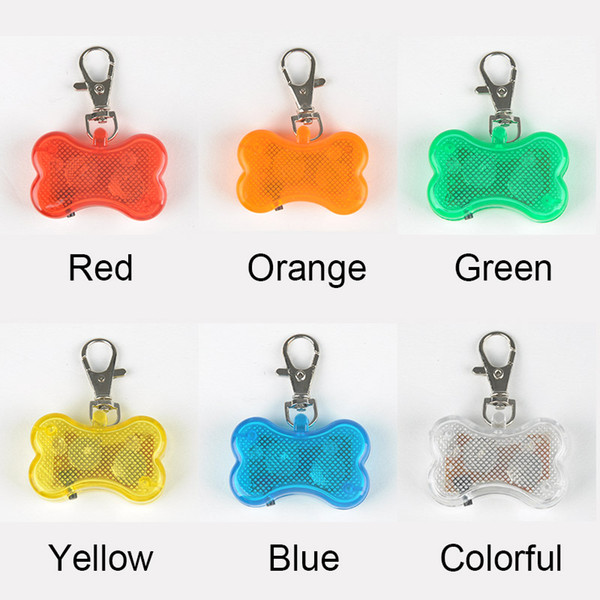 Cute Pet Pendant Bone Style Safety Flashing LED Light Pet Dog Collar Pendant Charms Retail Sale