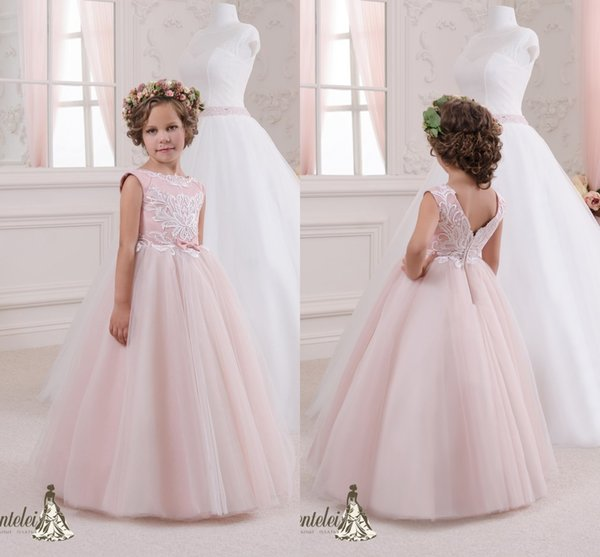 Lovely 2017 blush pink flower girl dresses lace a line floor length lovely 2017 blush pink flower girl dresses lace a line floor length tutu bow sash mightylinksfo