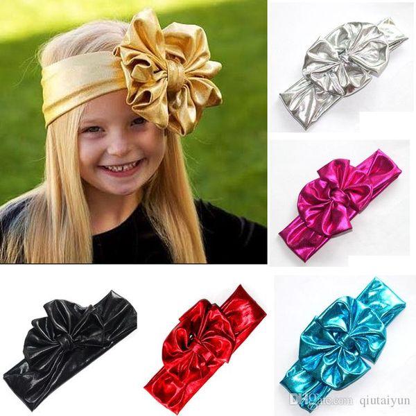 Shiny leather bow headband for children baby girls big elastic metal color head wraps turban bands bandana headband hair accessories B268-7