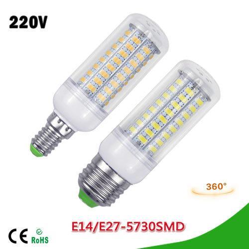 DHL Free Wholesales NEW LED lamp E27 E14 3W 5W 7W 12W 15W 18W 20W 25W SMD 5730 Corn Bulb 220V Chandelier LEDs Candle light Spotlight