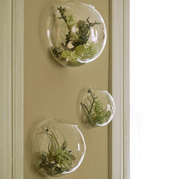 3PCS / set Wall Bubble Terrari Vaso da parete in vetro per fiori / piante da interno Fioriera da parete per piante grasse Supporti per piante d'aria Home Decor