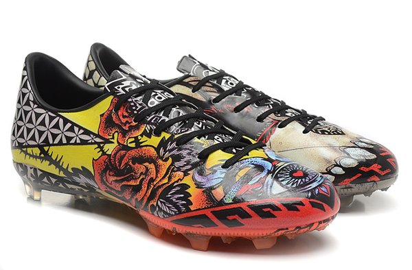 2015 New Soccer Boots Tattoo Love Hate FG Boots Messi Soccer Boots Size  6.5-11