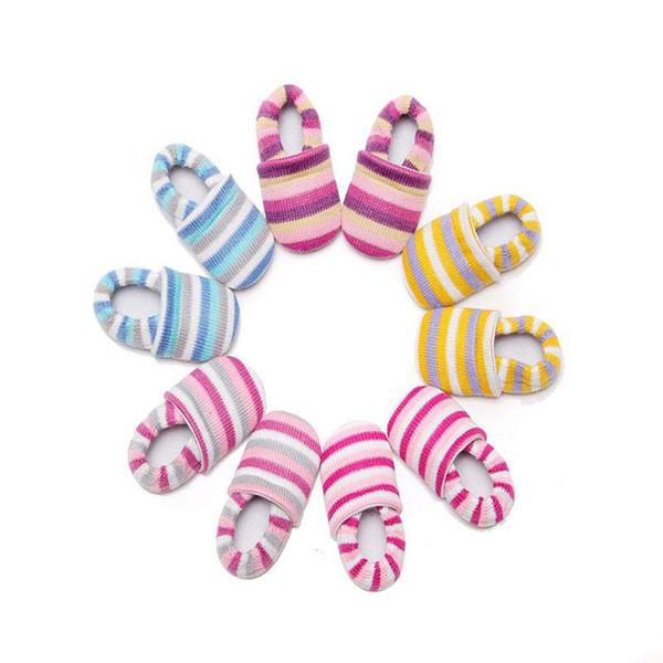 Baby First Walker Boys Girls Prewalker Kids Stripe Colorful Winter Autumn Newborn Knitted Shoes Cartoon Cute