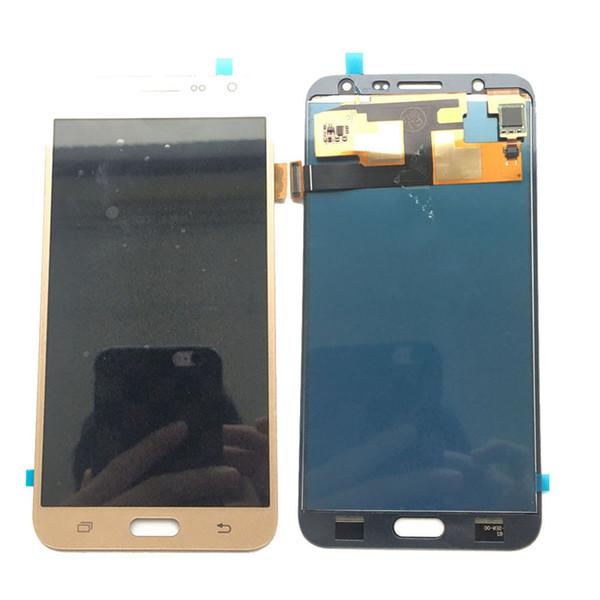 NOUVEAU écran tactile LCD Digitizer pour Samsung Galaxy J7 J700 J700F non ajusté or / noir / blanc avec verre trempé logistique DHL