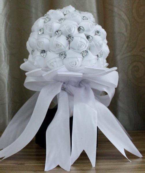 Rosa rojo blanco ramo de flores con cristal Bridal Holding Flor Decoración de la cinta Accesorios de boda de moda Marfil Ramo de novia
