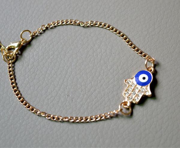 Faith Jewelry Retro 2 Color Gold Silver Rhinestone Fatima Hamsa Hand Turkey Evil Blue Eye Charm Bracelet Wholesale
