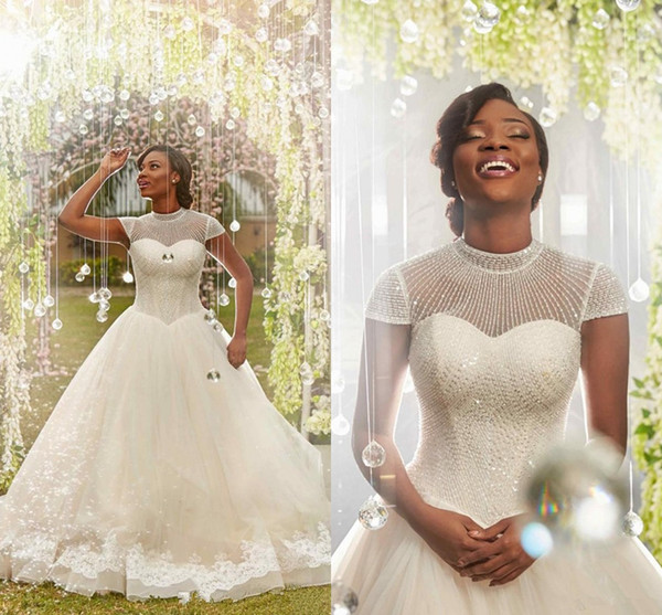 2019 Ball Gown Wedding Dresses Arabic High Neck Cap Sleeves Crystal Beaded Appliques Tulle Black Bridal Dress African Nigeria Bridal Gowns