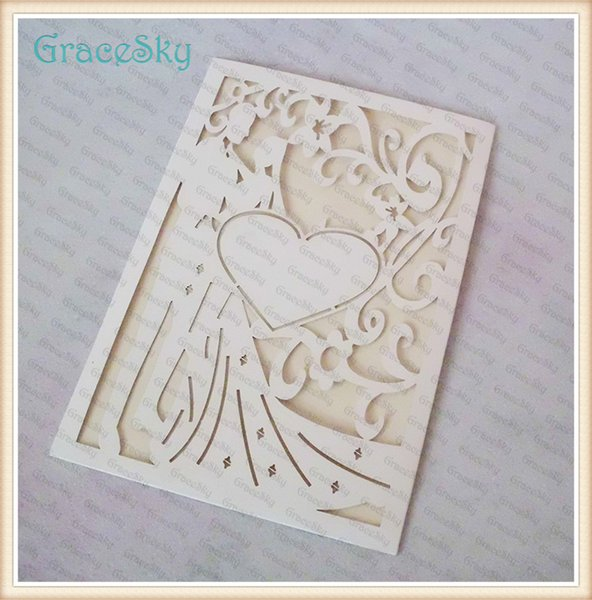 50X Free shipping Laser Cutting Bride &Groom with Love Heart Hollow Out Wedding Business Party Invitation Card with Inner Paper Blank Sheet