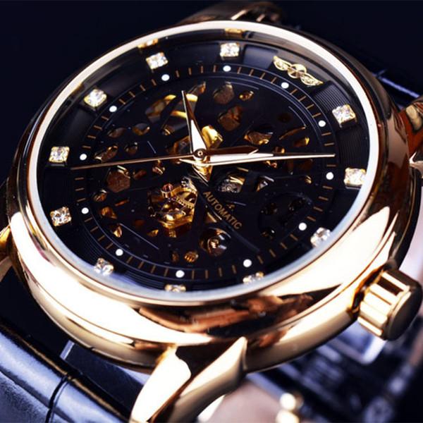2019 NEU !! Montre Homme Herrenuhren Gewinner Royal Diamond Design Schwarzgold Uhr Top-Marke Luxus Relogio Männliches Skelett Mechanische Uhr