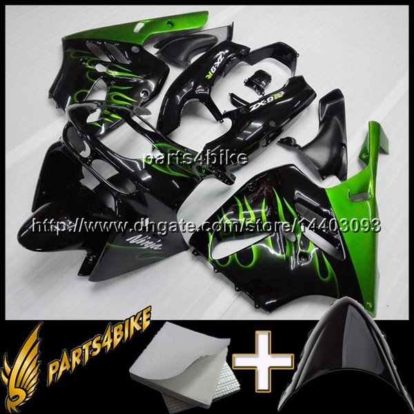 23colors+8Gifts GREEN FLAMES Motorcycle Fairing for Kawasaki ZX9R 94 97 ZX-9R 1994-1997 94 95 96 97 green flames Body Kit