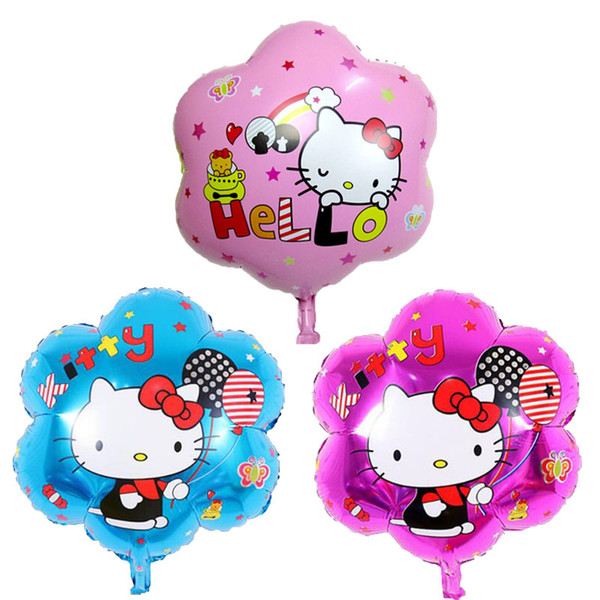 50pcs/lot Three colors new Hello Kitty balloon toys for children birthday party balloons wholesale flower decorations