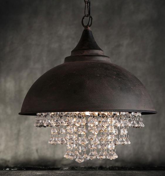 Vintage country style antique rust metal pendant light with crystal decor industrial hanging lamp indoor lighting fixture pendant chandelier