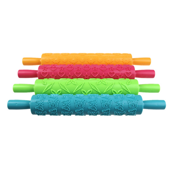 4 colores DIY cocinar la pasta de azúcar de herramientas de la cinta de la raya del arco del cortador del rodillo de estampación Pin Becorating Torta de la goma de la pasta de plástico compacto Set, dandys