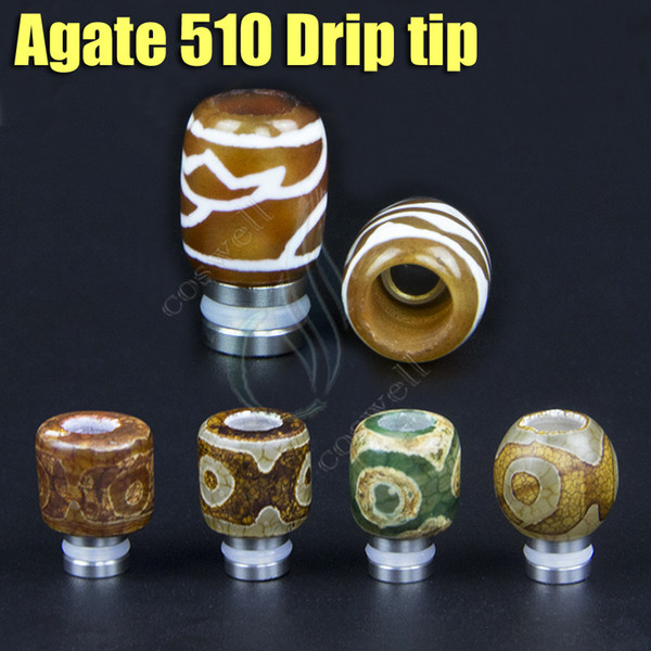 Pure Natural 510 Agate drip tips electronic cigarettes full Agate mouthpieces high grade rich style Wide bore vape mod VS Jade drip tips