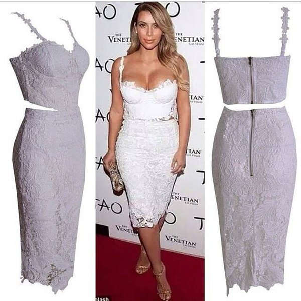 Celebrity Sexy Lace Bandage Dress Black White Casual Party Prom Evening Party Club Dresses Women Two Piece Outfits Dresses Zj1496 Canada 2019 From