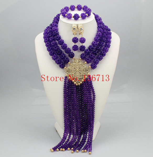 Fashion African Beads Jewelry Sets 2016 Nigerian Wedding Handmade Acrylic Beads Indian Multilayer Statement Necklace Earrings BS305-12