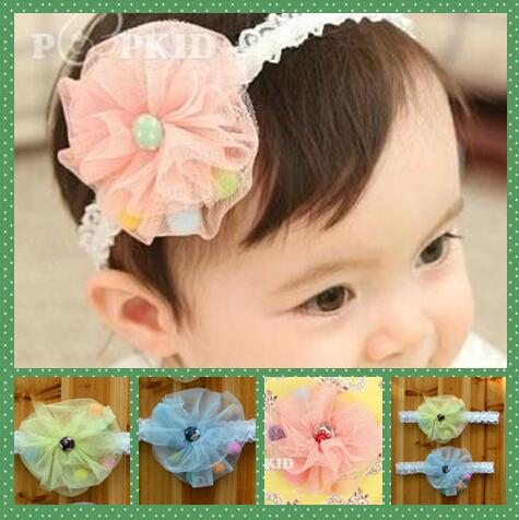 Pretty baby Hair Accessories For Infant Baby Gauze Pearl Big Flower Princess Babies Girl Hair Band Headband Baby's Head Band Kids 10pcs
