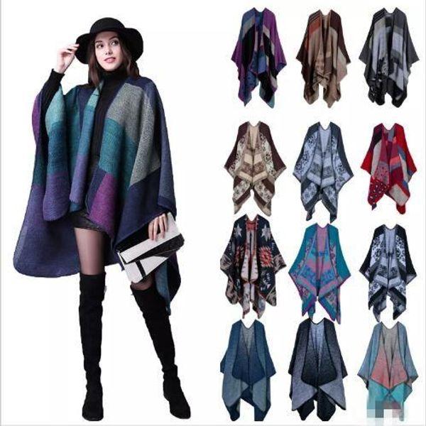 Plaid Poncho Women Vintage Fashion Scarf Wrap Knit Cashmere Scarves Lady Winter Capes jackets Shawl Cardigan Blankets Cloak Coat Sweater