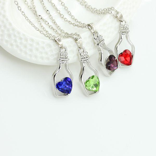 Creative Women Fashion Necklace Ladies Popular Style Love Drift Bottles Pendant Necklace Heart Crystal Pendant Necklace 1000pcs BY DHL