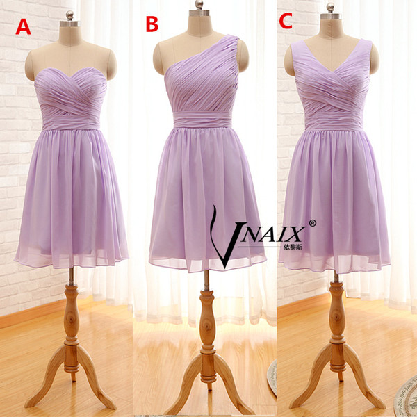 2019 Cheap Short Bridesmaid Dresses 3 Styles Pleated Chiffon Hot Sale Simple Short Prom Gowns Lace up Back Custom Made B85