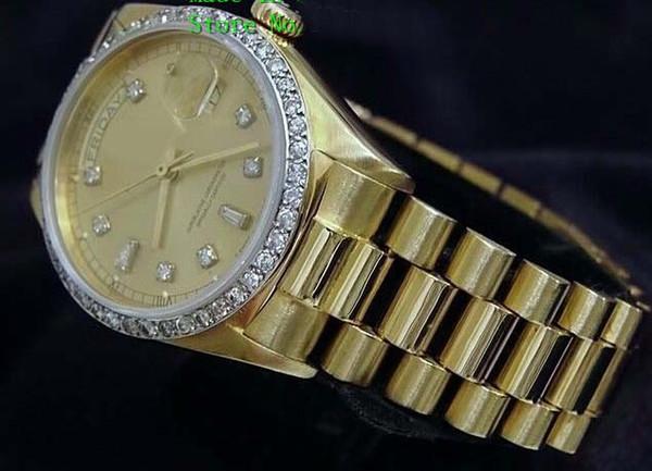 Moda de luxo RELÓGIOS de Alta Qualidade 18k Ouro Amarelo Diamante Dial Bezel 18038 Relógio Automático dos homens Relógio De Pulso