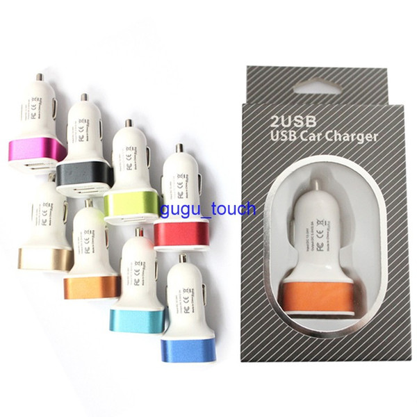 Dual USB ports Car Charger 5V 3.1A colorful Powe Adapter with retail package for iPhone 6 6 Plus 5s 4s Samsung S6 S5 Note3 Note4 100pc