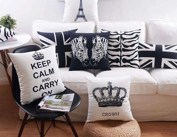 Modern Minimal Black And White Cushion Cover Keep Calm Crown Paris Eiffel Tower Zebra Stripes Pillowcase Velvet Cushions Pillow Covers
