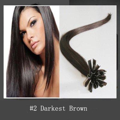 6A Brezilyalı Bakire Saç Demetleri Tırnak Ucu U-İpucu Saç Uzantıları Koyu kahverengi # 2 Düz 1g Keratin Sopa Saç İnsan Remy Saç 100 s / Lot