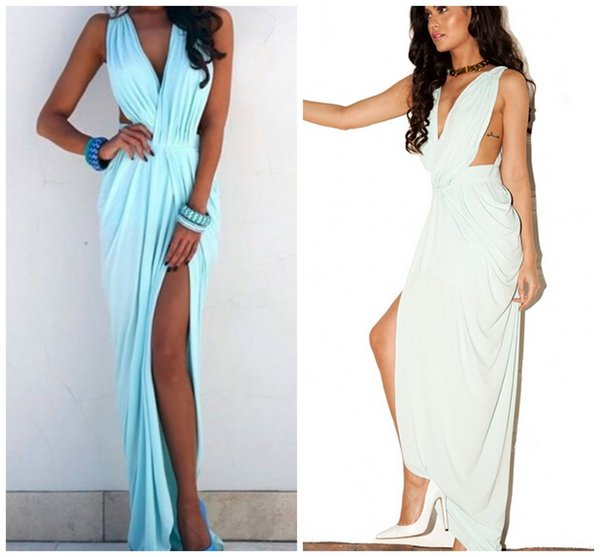 2015 Backless Chiffon Blue Pastel Prom Dresses Sheath Prom Dresses