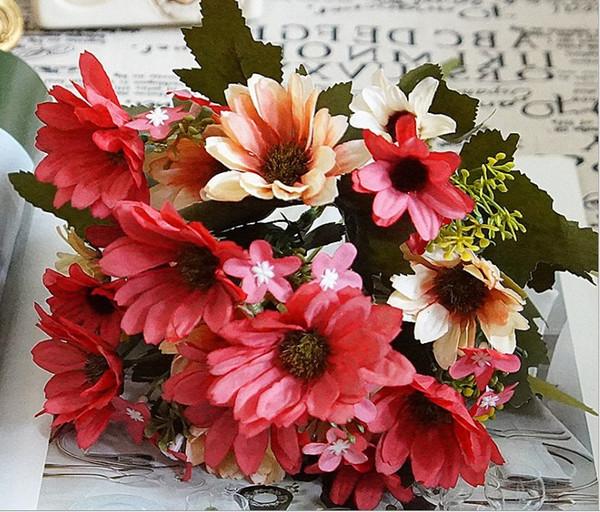 New Design Sunflower Bunch Silk Artificial Daily Flower For Home Party Deco 21 Flower Heads Cheap Gerbera Bush Flower Wall Plant Deco