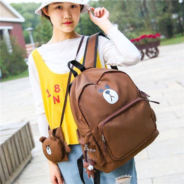 New School Canvas Small Bear Women Backpack Japanese Korean Style High School Preppy Style Cute Brown Bear Print School Bag