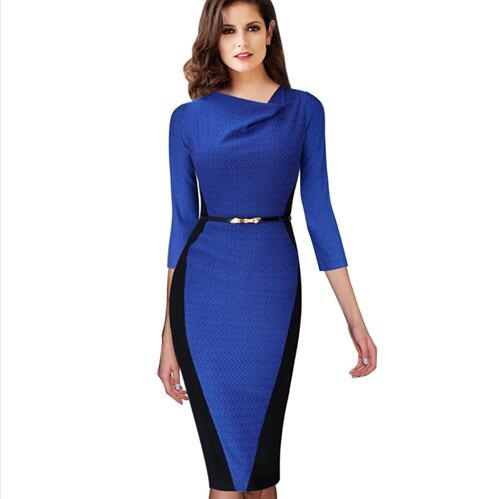2017 Women Belted autumn Elegant Optical Illusion Draped Neck Tunic Wear To Work Business Casual Sheath Pencil Dress