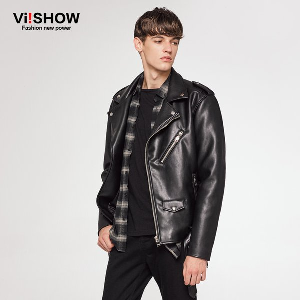 Wholesale- VIISHOW NEW Brand Men Motorcycle Leather Jacket Men Jaqueta De Couro Masculina Mens Leather Jackets Zip PU Leather Coats DC30064