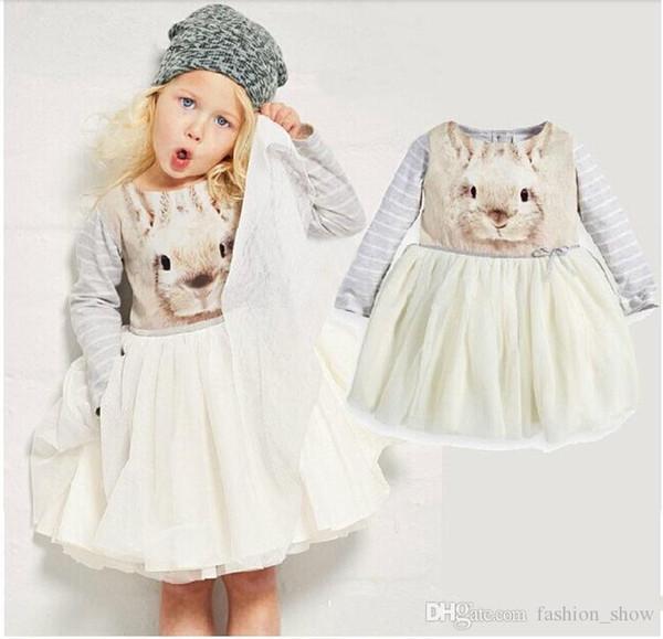 girl Adorable princess dress with an bunny photo-print long-sleeved top full tutu dress for Autumn winter dresses