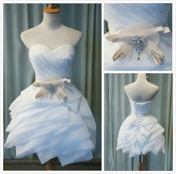 Custom Cute Empire Waist Strapless Sweetheart Ruffles Organza Cheap Homecoming Dresses Short Prom Dresses Party Bridesmaid Dress