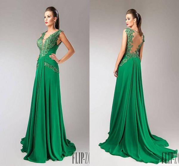 Custom Made Prom 2016 Novo Design A Linha Lace Chiffon Verde Ruffles Longo Frisado Plus Size Vestidos de Noite