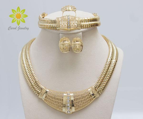 Ücretsiz Kargo 18 k Altın Dolu Dubai Afrika Beyaz Avusturyalı Kristal Kolye Bilezik Küpe Yüzük Düğün / Gelin Takı Seti