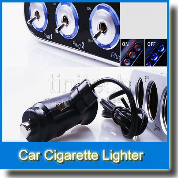 3 Way Auto Car Cigarette Lighter Socket Splitter 12V Charger Power Adapter w/ LED Light Control