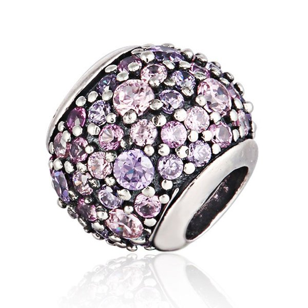 100% 925 Sterling Silver Pink and Purple Pave Bead Fits European Pandora Jewelry Charm Bracelets
