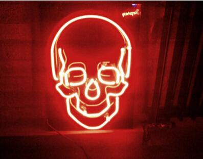 "Skull Neon Sign Neon Bulb Beer Bar Disco KTV Club Party Display Advertisement Sign Handcrafted Custom Real Glass Tube Neon Signs 17""X14"""