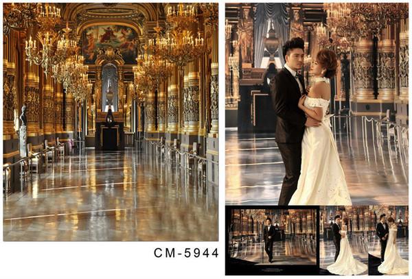 Wholesale Golden Palace Church Camera Photos Wedding Backdrop Computer Printed Photography Studio Background Vinyl Backdrops Backgrounds