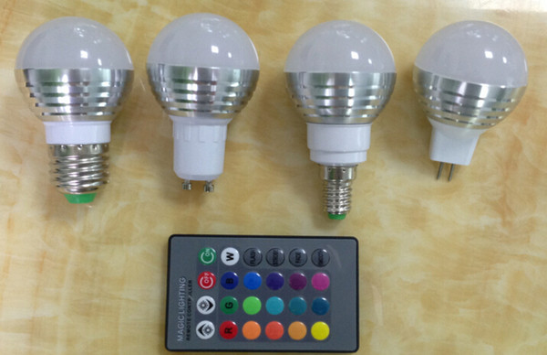 MOQ30 3W RGB LED Globe Lights Bulbs AC 85-265V GU10 E14 E27 Screw Base Lighting Magic Bulb 16 Colors Changing Lamp with Remote Controller