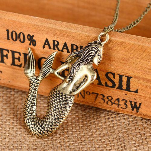 Stylish Vintage mermaid pendant necklace long sweater chain Women Jewelry New arrival factory price Gift 24pcs